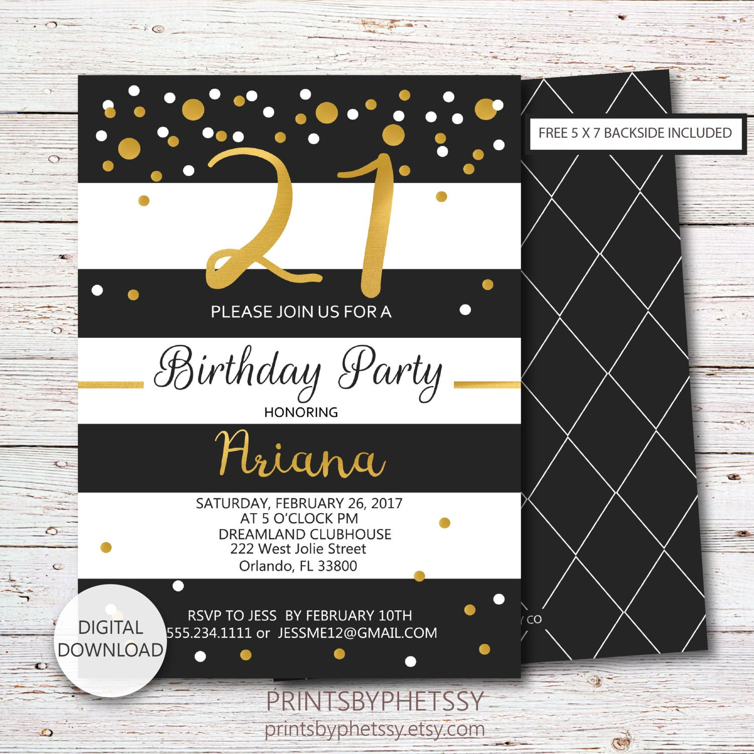 21st Birthday Invitation Black and Gold 21st Party