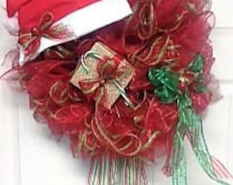 Whimsical Santas Helper Christmas Wreath