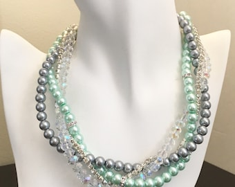 Mint and Grey Necklace Bridesmaids Necklace Pearl Necklace Mint Green Necklace Mutli Stand Necklace 4 Strands Necklace Mint Jewelry