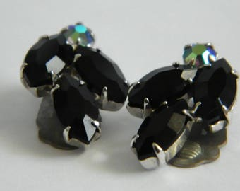 Vintage Black Rhinestone Cluster Clip On Earrings
