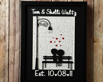 1st Anniversary Gift, Wedding Vow Art, Personalized Wedding Song Art, Cuddly Couple, Wedding Gift, 3D paper, Song Lyrics Art, Framed