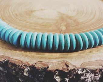 "rondelle turquoise gemstone beads 15"" strand   howlite"