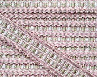 braid, upholstery tacks, 35 mm, Marie Antoinette, pink green VILLANDRY, waves, 32471 9470