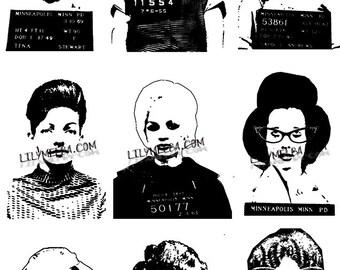 Vintage females/ polaroid images/Digital Stamp/ digital/ download collage sheet/ vintage images