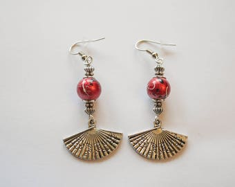 Red and silver fan earrings