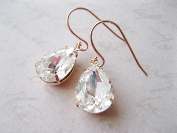 Crystal Rose Gold Plated Teardrop Earrings Bridesmaid Jewelry Vintage Style Wedding Bridal Earrings Nickel Free