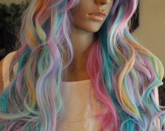 READY TO SHIP Pink Wig, Fairy Wig, Cosplay, Unicorn Wig, Rainbow, Pastel Wig, Dash, Princess Wig, Blue Wig, Yellow Highlights, New Years