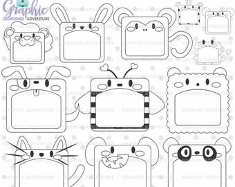 Animal Stamps COMMERCIAL USE Digi Stamp Digital Image Coloring Page Notes Clipart Digistamp