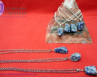 Sodalite crystal blue gemstone pendant necklace, reiki healing Crystal jewellery  by St Helens Crystals
