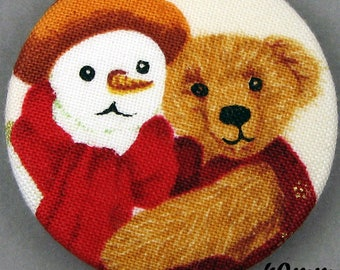 Fabric - Christmas bear button - Christmas Teddy Bear - 40mm - (40-12)