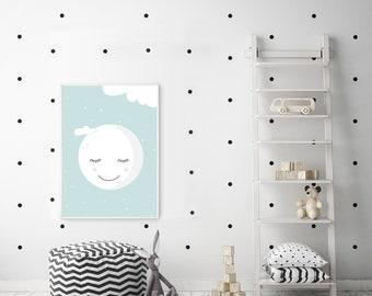 Boy nursery decor, Printable wall art nursery, Boys nursery art, Nursery wall art for boy, Boys bedroom art, Moon nursery, Mint Nursery