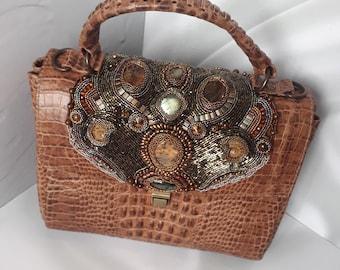 Satchel women Brown satchel handbag purse Leather shoulder bag Satchel handbag House Lannister Lion  Beaded handbags Bead embroidered bag