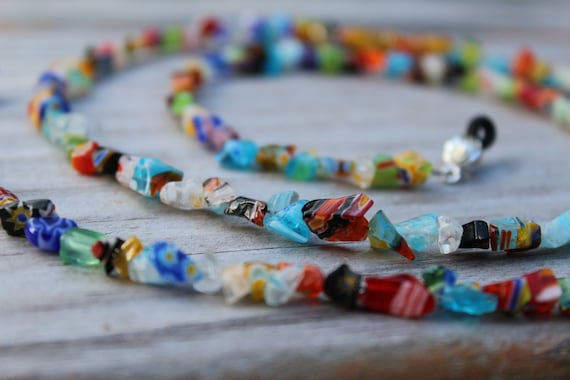 Eyeglass Holder, Colorful Beaded Eyeglass Chain, Millefiori Reading Glasses Lanyard,  Chain for Glasses Holder, Handmade Birthday Gift Idea