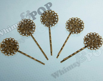 10 - Filigree Bobby Pin Blanks and Findings, Antique Bronze Bobby Pin Blanks,  61MM x 25MM (R6-068,C1-16)