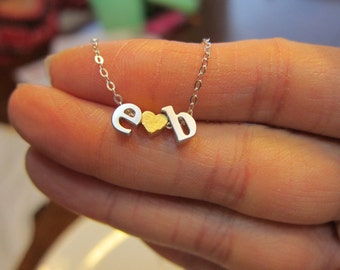 Two initial Necklace, Boyfriend Girlfriend, His and Her, Anniversary Gift, Valentine's day, double initial necklace,letter necklace,monogram