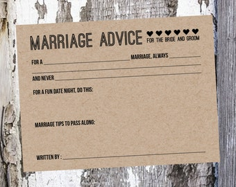 50 Wedding Advice Cards - Bride and Groom Advice Cards