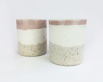 SALE // Ceramic Cup // Ceramic beaker // drinkware // Mugs // ceramic glass //  Modern ceramics // pink pottery / speckled pottery