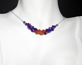 """Doctor Who Donna Noble Companion Inspired Swarovski Crystal Necklace Beadweaving Sterling Silver - """"Doctor Donna"""""""