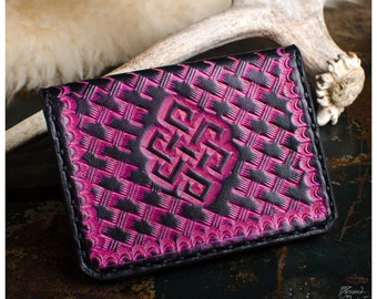 Pink endless knot leather card holder