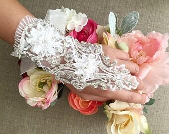 Beaded wedding bracelet ribbon cuff lace applique
