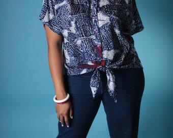 Vintage 80s Blouse // Plus Size Lady Shapely Leslie Fay Tie Front Abstract Print Crop Top   // Plus Size Top (sz 18W XL XXL)