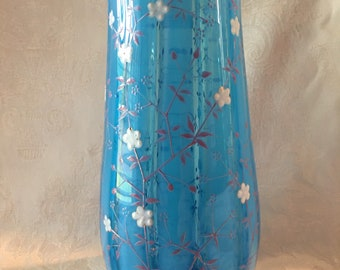 Antique Blue Opalescent Victorian Vase With Hand-Painted Enamel Flowers