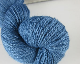 50g Indigo Medium Blue Dyed Natural Dye Laceweight Wool Silk Yarn