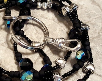 Simply Black jet aurora borealis beaded lanyard perfect for your work badge ID card dorm key whatever you need it for
