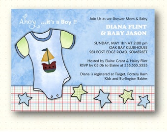 Baby Shower Invitation, boy, nautical, blue, stars, gender reveal, sip and see, digital, printable invite B4021