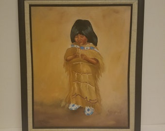 Native child original oil by G. Hughes