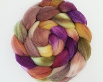 "Hand Dyed Eco Sock Blend Roving--4 oz 80/20 Organic Merino/Nylon Hand Dyed Combed Top, ""Ingan"""