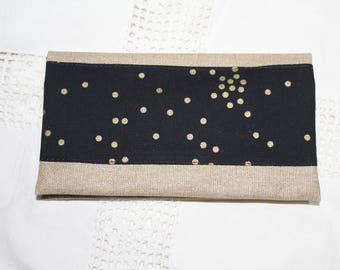 Checkbook linen glittery gold and black and gold pattern