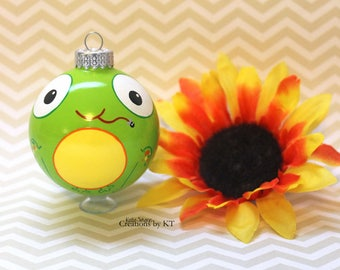 Bright Green Frog Christmas Ornament READY TO SHIP Green Glass Bauble Hand Painted Kawaii Animal Big Eyes Amphibian Frog Art
