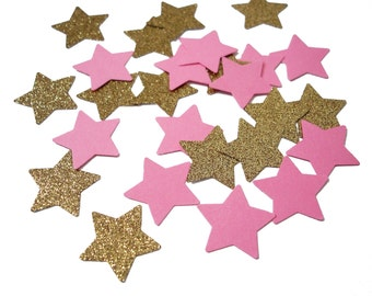 50 Twinkle Twinkle Little Star Pink Gold Star Confetti, Glitter Stars, Confetti Mix, Baby Shower, Birthday Party, Party Decorations - No298