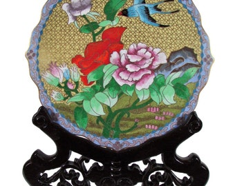 Cloisonné dish with wooden stand