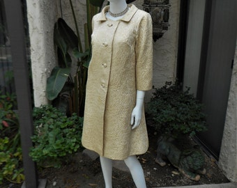 Vintage 1960's Gold Metallic Dress & Coat Set - Size