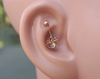 Lotus Flower 14kt Rose Gold Rook Earring Daith Piercing Eyebrow Ring