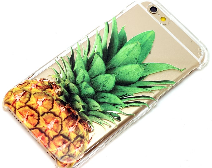 Featured listing image: iPhone Phone Case Pineapple clear, Fruit, Tropical, Transparent Clear, Decorative, Vanity, iPhone 6, iPhone 7, iPhone 8, iphone X, iphone SE