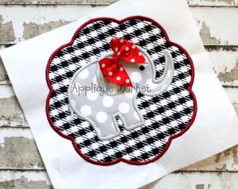 Machine Embroidery Design Applique Elephant Scallop 2  INSTANT DOWNLOAD