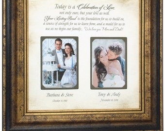 Wedding Gift for Parents, Personalized Wedding Frame, Family Quote, 16x16