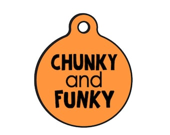 "Double Sided Dog ID Tags ""Chunky and Funky"" MORE COLORS - Two Tag Sizes"