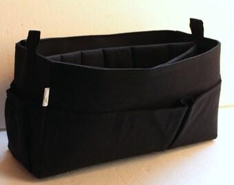 Purse organizer Fits large Longchamp Le Pliage- Bag organizer insert with iPad Case- in Black fabric