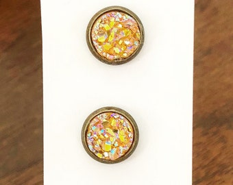 8mm Antique Brass and Yellow Faux Druzy Studs