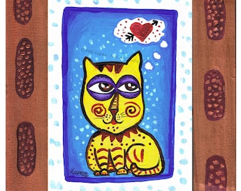9 Lives of Love original painting on recycled paper w/ hand painted wooden frame