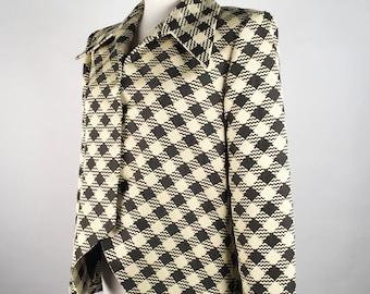 "Vintage 90s Pauline Trigere Coat, Womens Wool Blazer, Black and White Check Jacket, B40"", 90s Minimalist Clothing, Plus Size 90s Clothing"