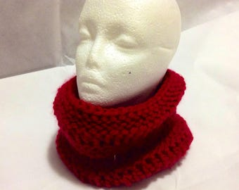 Red Knit Chunky Dropstitch Cowl - Winter Scarf