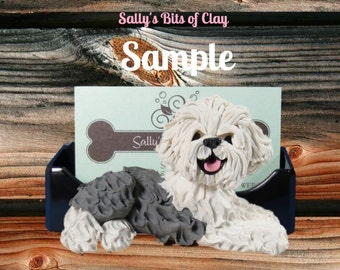 Old English Sheepdog Business Card Holder / Iphone / Cell phone / Post it Notes OOAK sculpture by Sally's Bits of Clay