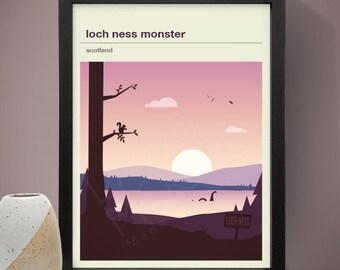 Loch Ness Monster Mythical Landscape Print, Yeti Poster, Mythical Print, Poster
