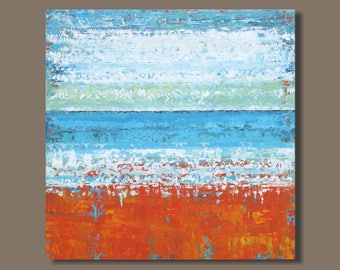 large abstract art, landscape painting, abstract seascape painting, orange and blue, modern art, ocean painting, beach painting
