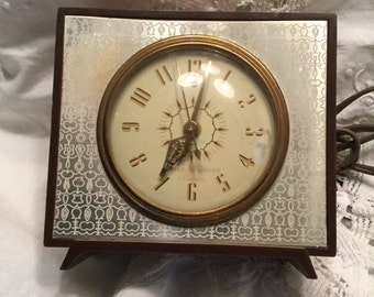 Vintage GE Telechron Electric Alarm Clock Leatherette Case Gold Tone Filagree Hands White Face Gold Numbers